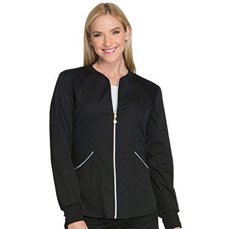 Cherokee Women's Luxe Sport Zip Front Warm-Up Jacket, Black,