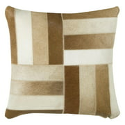 """Rizzy Home Decorative Poly Filled Throw Pillow Stripped Patches 18""""X18"""" Brown"""