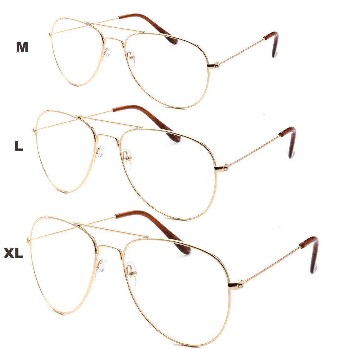 XL Classic Vintage Retro Aviator Clear Lens Gold Metal Frame ...