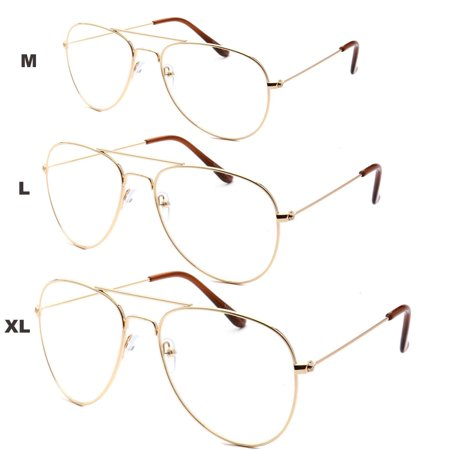 XL Classic Vintage Retro Aviator Clear Lens Gold Metal Frame Eyeglasses (Glasses Frames For 60 Year Old Woman)