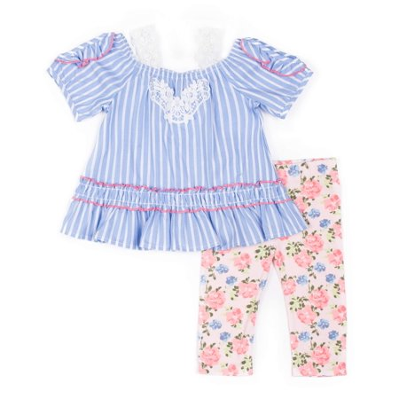Chambray Stripe Cold Shoulder Top and Capri Legging, 2-Piece Outfit Set (Little Girls)