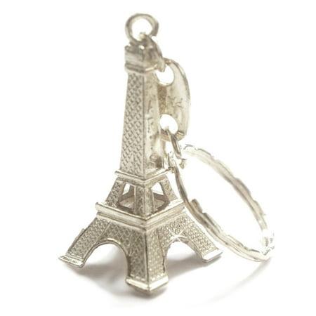 Silver 3D Eiffel Tower Key Chain