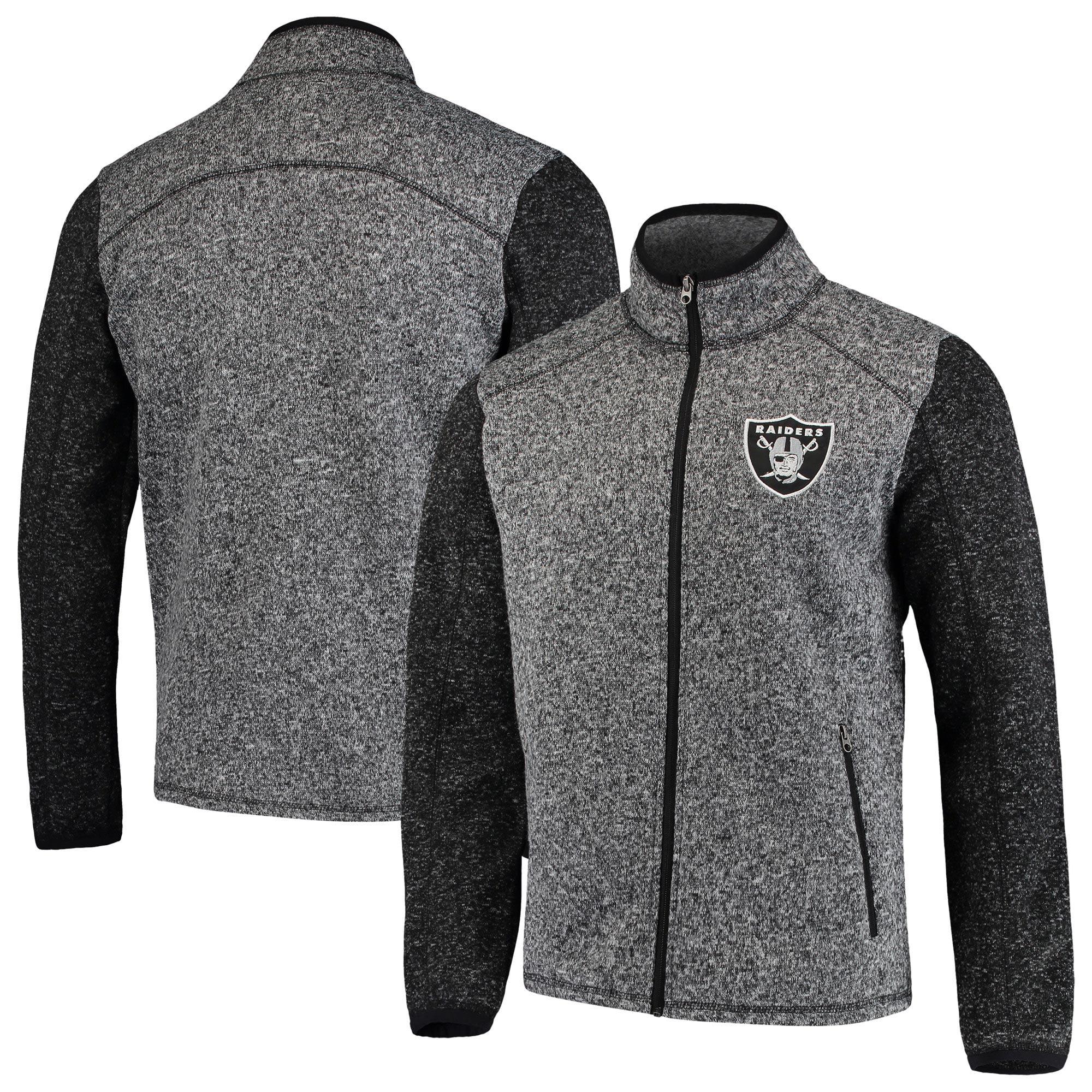 Oakland Raiders G-III Sports by Carl Banks Alpine Zone Sweater Fleece Full-Zip Jacket - Heathered Charcoal