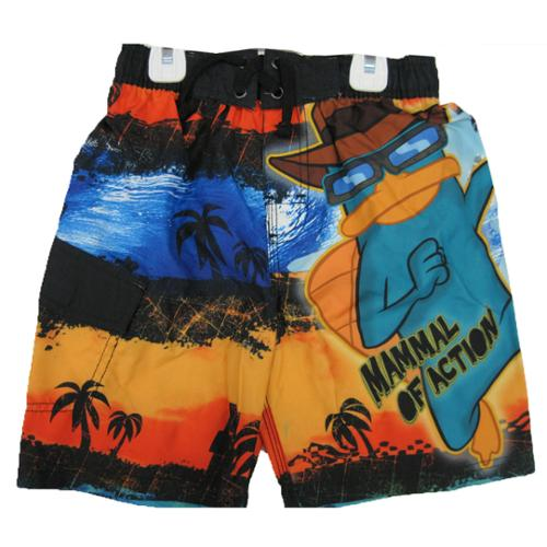 Phineas and Ferb Little Boys Orange Black Character Printed Swim Wear Shorts 6