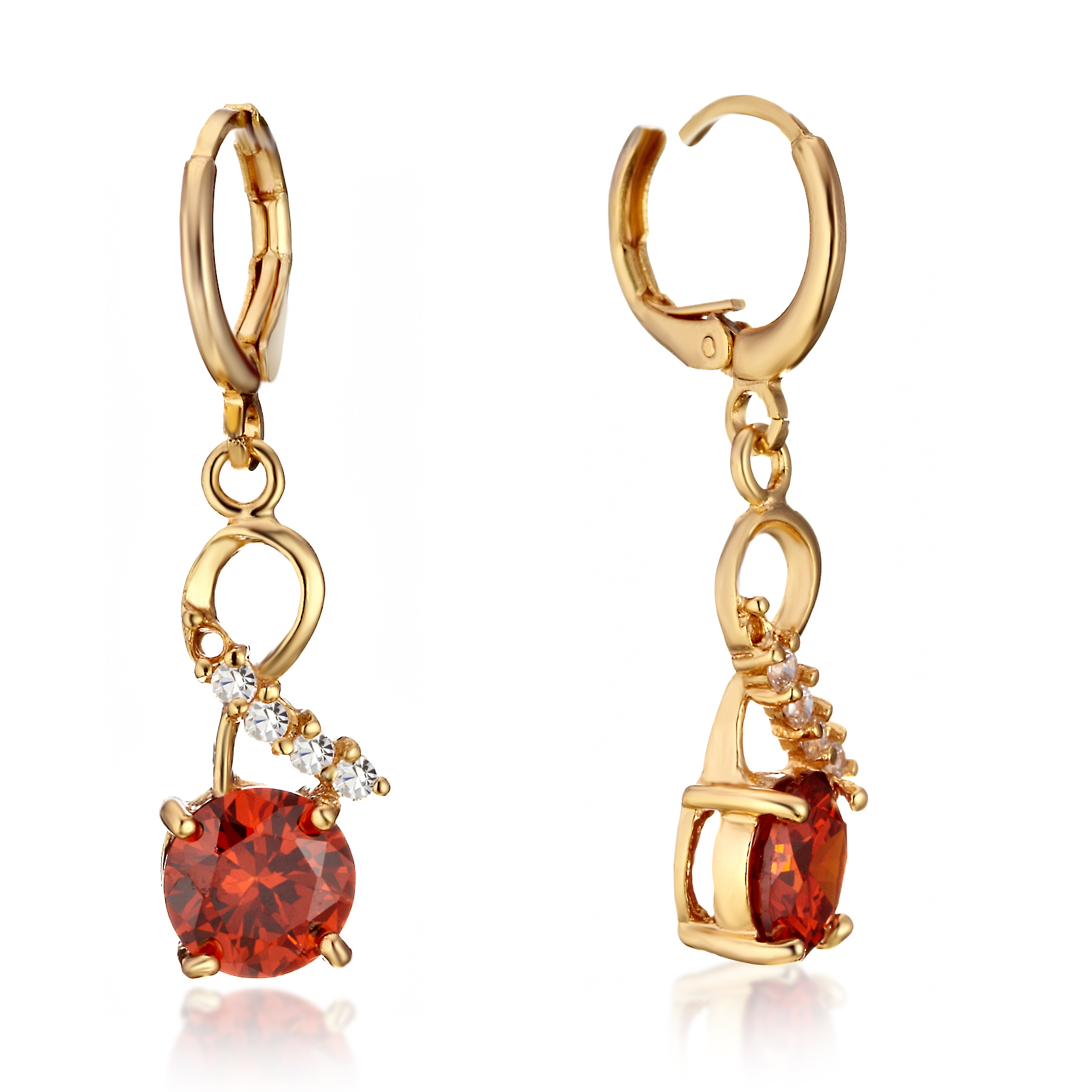 Gemini Women Jewelry 18K Gold Filled Created Ruby Leverback Dangle Huggies Earrings Gm154 , Size: 35mm , Color: Yellow Gold