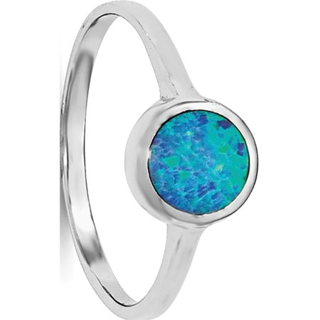 Sterling Silver Rhodium-plated Polished Round Synthetic Opal Ring - image 3 of 3