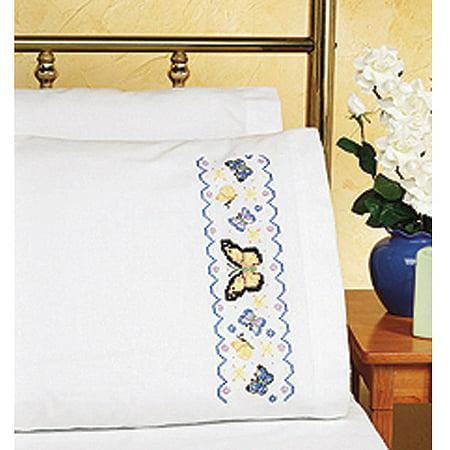 Cross Stitch Pillowcase (Janlynn Butterflies Pillowcase Pair Stamped Cross Stitch, 20