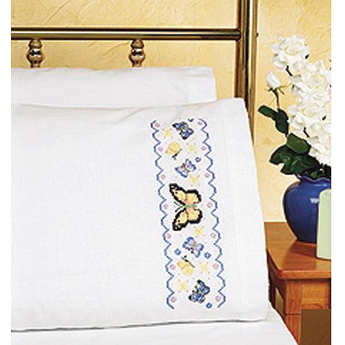 """Janlynn Butterflies Pillowcase Pair Stamped Cross Stitch, 20"""" x 30"""""""