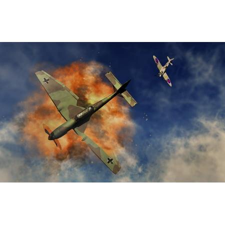 - A Royal Air Force Supermarine Spitfire destroying a German Ju 87 Stuka dive bomber Poster Print by Mark StevensonStocktrek Images