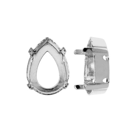 Swarovski Crystal Upgraded Fancy Stone Setting, Fits #4320 14x10mm Pear, 2 Pieces, Rhodium Plated