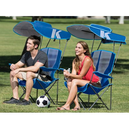 Kelsyus Premium Portable Camping Folding Lawn Chair With Canopy Blue 80185 Image 1