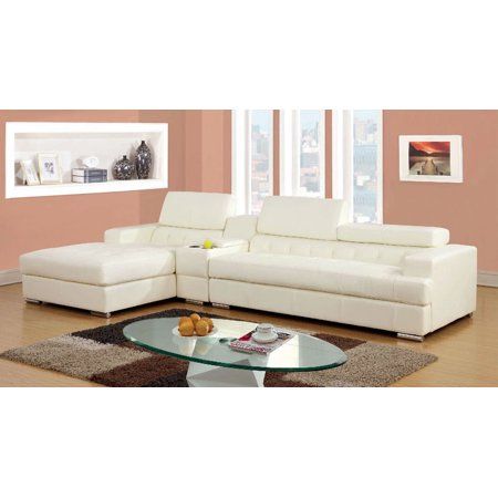 Simple Relax 1PerfectChoice Floria L-Shaped Sectional Sofa Bonded Leather  Gas Lift Headrest Storage Console White