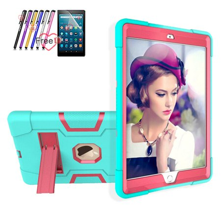 Goldcherry For New iPad 10.2 Case 2019,Hybrid Shockproof Rugged Anti-Impact Drop Protection Cover Built with Kickstand For for iPad 10.2 inch 7th Generation(Mint Green/Pink) 102 Carrying Case