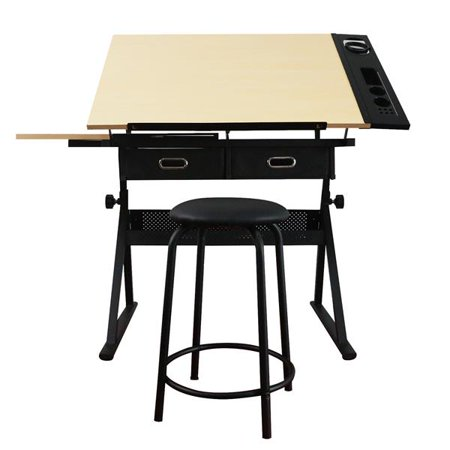 Height Adjustable Drawing Table with Storage Drawers and Stool Yellow