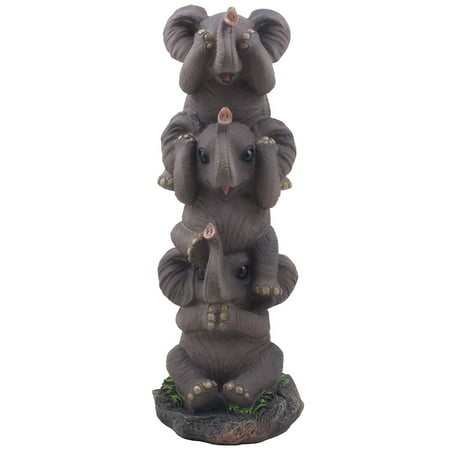 See, Hear & Speak No Evil Elephants Totem Statue in Decorative African Safari Decor or Jungle Animal Sculptures by Home