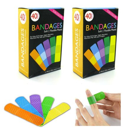 Strip Badges - 80 Bandages Adhesive Bands Flexible Strip Assorted Children First Aid Bandage