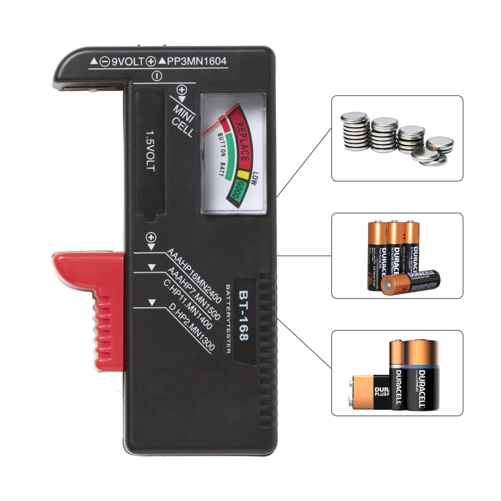 RED SHIELD Universal Battery Tester, Accurate and Portable Battery Checker for AA AAA C D 9V 1.5V and Button Cell Batteries