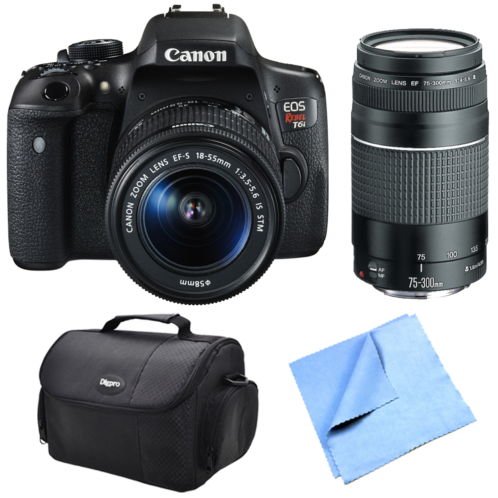 Canon EOS Rebel T6i Digital SLR Camera Body with EF-S 18-55mm 1:3.5-5.6 IS STM Lens, EF 75-300mm F4-5.6 III Lens, Compact Deluxe Gadget Bag and Beach Camera Microfiber Cloth