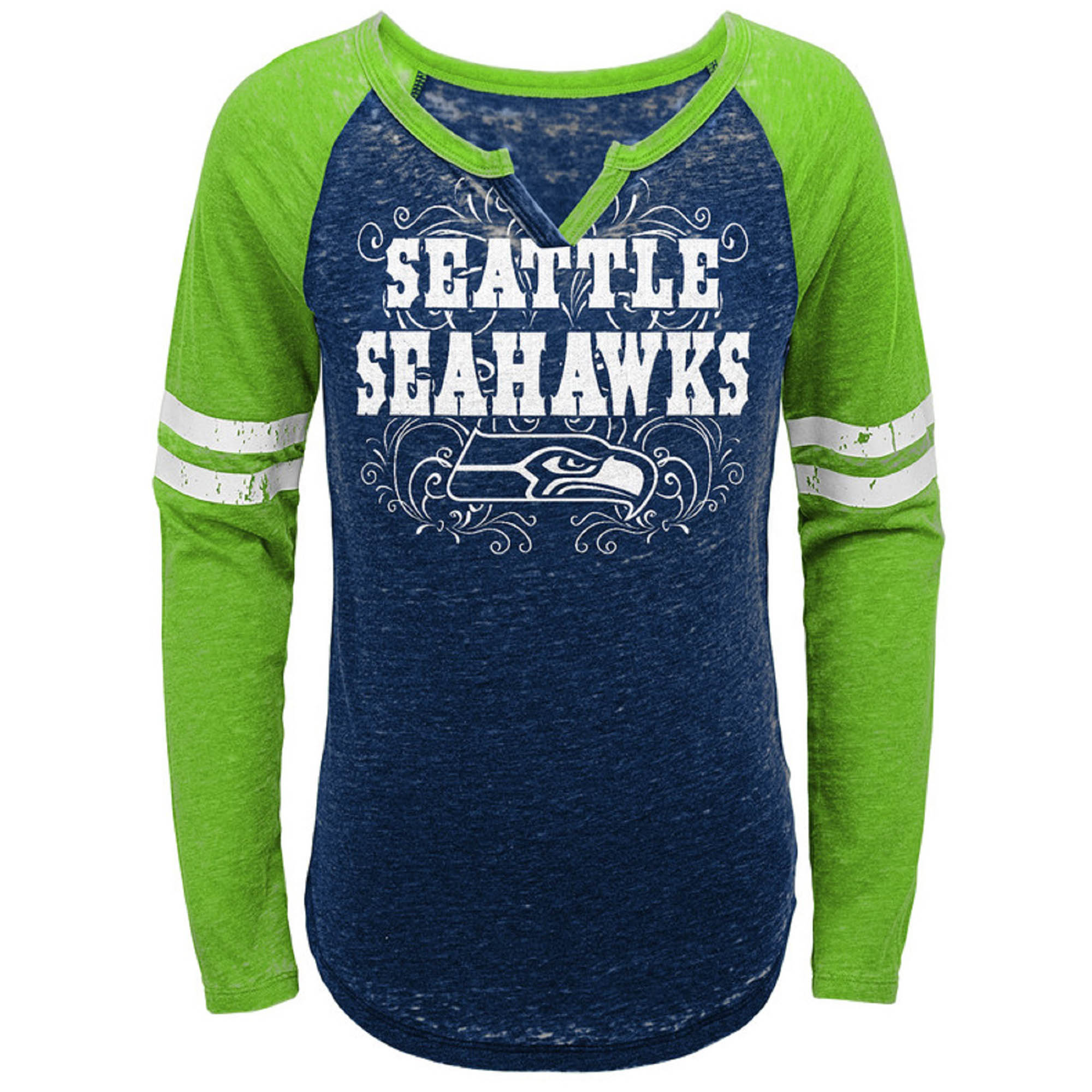 Girls Youth College Navy/Neon Green Seattle Seahawks Burnout Long Sleeve V-Notch T-Shirt