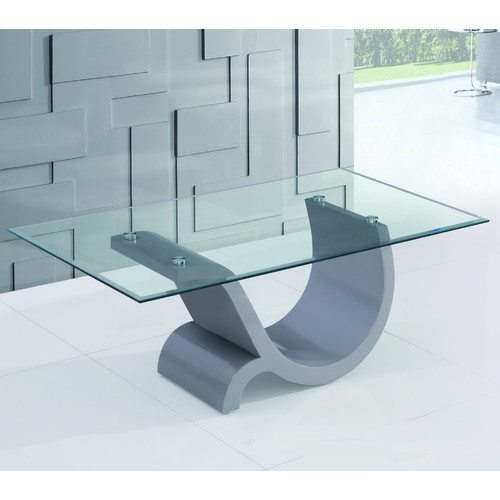 Omega Glass Coffee Table with Champagne Glossy Base