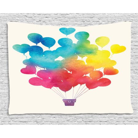 Watercolor Tapestry Hot Air Balloon Rainbow Colors Cute Heart Shapes Cheerful Hy Wall Hanging For Bedroom Living Room Dorm Decor 80w X 60l