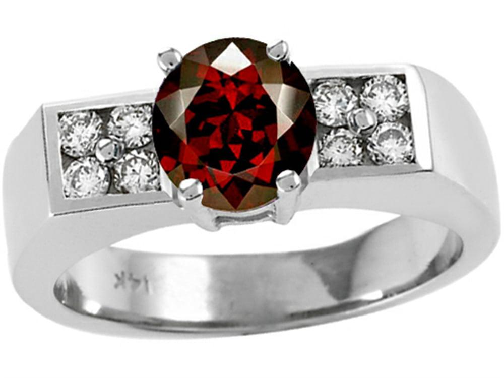 Tommaso Design Round Genuine Garnet Ring by Tommaso design Studio