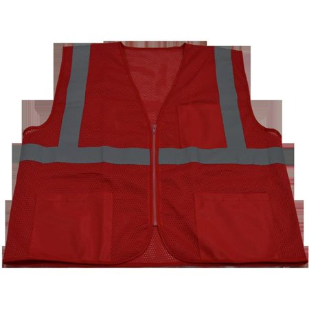 Petra Roc RVM-S1-S-M 2 in. Red Mesh Vest Reflective Tape 3 Pockets Zipper Front, Small & Medium