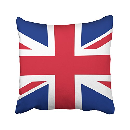 WinHome Blue And Red And White British Flag Decorative Pillowcases With Hidden Zipper Decor Cushion Covers Two Sides 20x20 inches