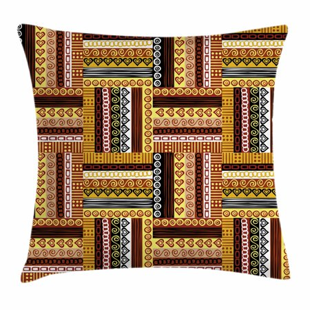 Ethnic Throw Pillow Cushion Cover, Traditional African Oriental Motifs with Tribal Colors Nigerian Culture Elements, Decorative Square Accent Pillow Case, 24 X 24 Inches, Multicolor, by Ambesonne