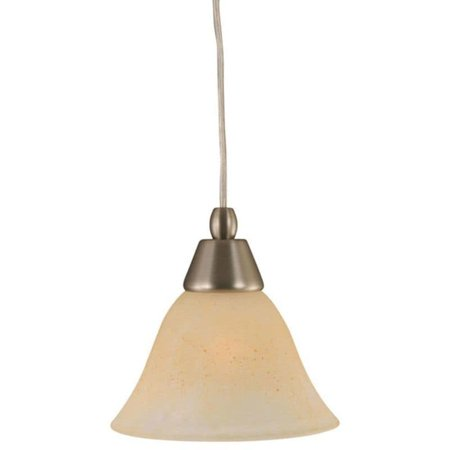 Toltec Cambridge 1-Light Brushed Nickel 7.5 in. Pendant with Amber Marble Glass
