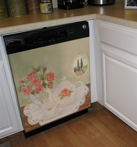 Appliance Art Fall / Spring Seasons Flower Floral Dishwasher Cover Art Decoration