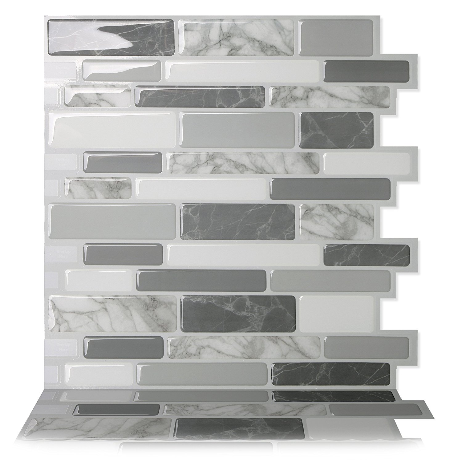 Tic Tac Tiles - Premium Anti Mold Peel and Stick Wall Tile Backsplash in Polito Gray