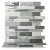 Product Image Tic Tac Tiles Premium Anti Mold L And Stick Wall Tile Backsplash In Polito Gray