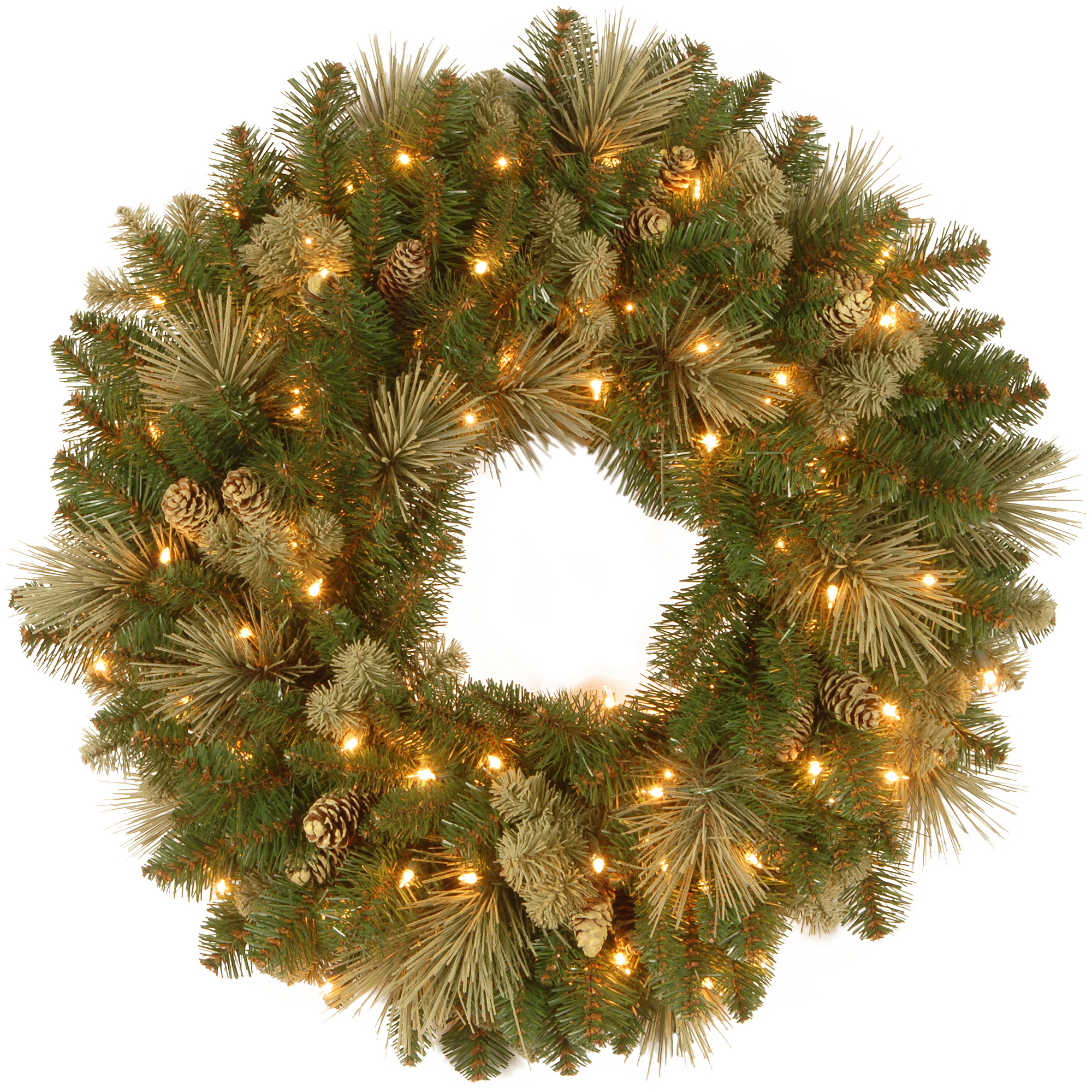 "National Tree Pre-Lit 24"" Carolina Pine Wreath with 10 Flocked Cones and 50 Clear Lights"