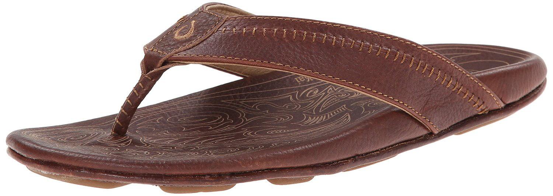 Men's Olukai Hiapo Leather Sandals, TEAK/TEAK, Size 8