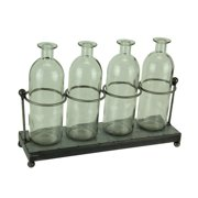 4 Glass Jar Bud Vases in Rustic Metal Tray