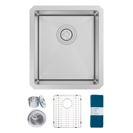 Zuhne Modena 15 x 17 Inch Undermount Single Bowl 16 Gauge Stainless Steel Bar or Prep Kitchen Sink ()