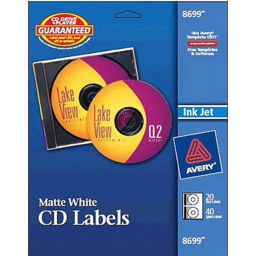 Avery(R) Matte White CD Labels for Inkjet Printers 28669, 16 Disc Labels and 32 Spine Labels