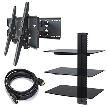 2xhome TV Wall Mount Bracket Bundle with HDMI Cable and Triple Shelf Package (Black)