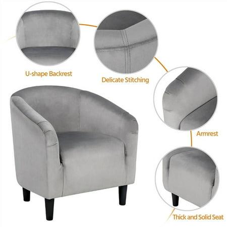 Easyfashion Velvet Upholstered Barrel Arm Accent Tub Chair, Set of 2, Gray