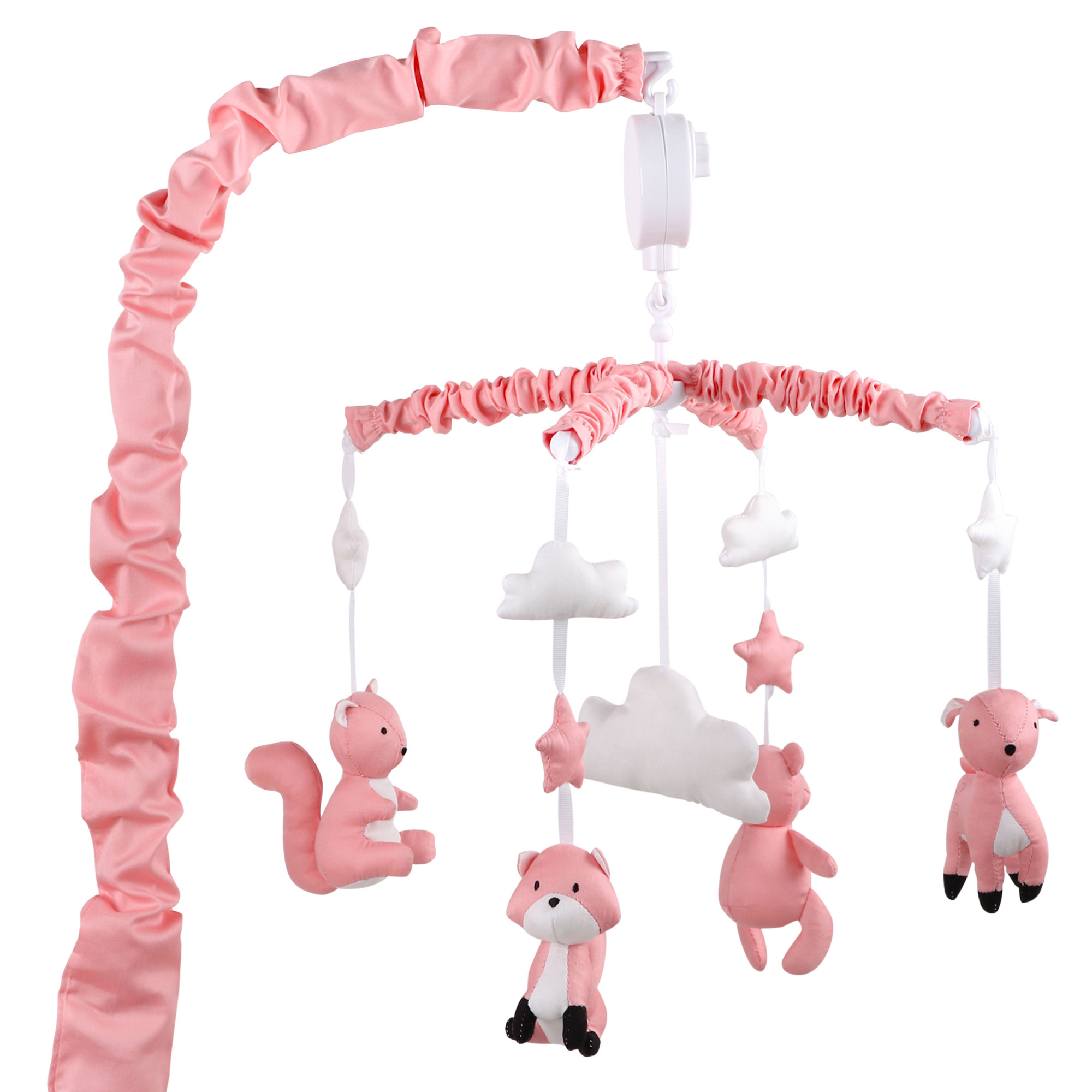 The Peanut Shell Musical Crib Mobile - Coral Pink Forest Animal Theme - Fits Most Standard Size Cribs