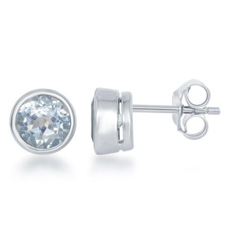 - Sterling Silver December Birthstone Blue Topaz Bezel-set 6mm Stud Earrings