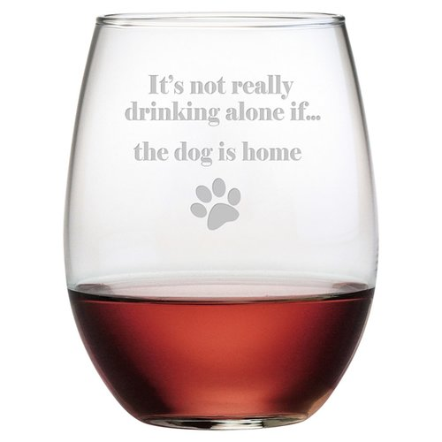 Susquehanna Glass The Dog is Home 21 Oz. Stemless Wine Glass (Set of 4)