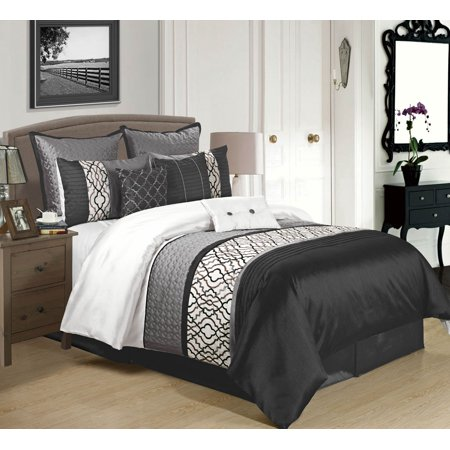 9 piece cambridge black charcoal white comforter set. Black Bedroom Furniture Sets. Home Design Ideas