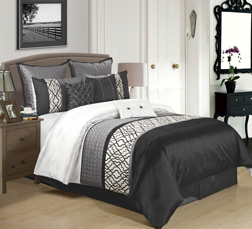 9 Piece Cambridge Black/Charcoal/White Comforter Set