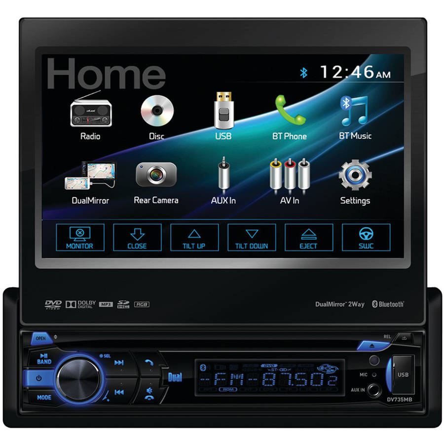 """Dual Electronics DV735MB 7"""" Single-DIN In-Dash DVD Receiver with Motorized Touchscreen, Built-in Bluetooth, DualMirror and HDMI Input"""