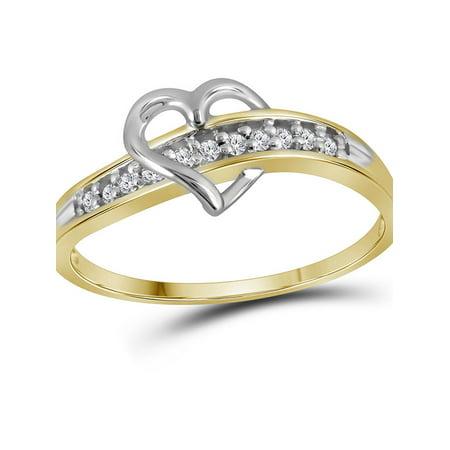 10kt Yellow Gold Womens Round Diamond Heart Love Ring 1/20 Cttw - image 1 de 2
