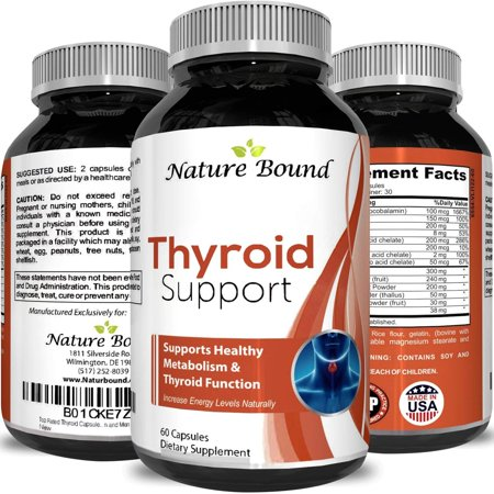 Nature Bound Thyroid Support Formula for Men and Women - Natural Hormone Balance Support and Metabolism Supplement for Weight Loss - Boost Energy Levels 100% Natural 60 Capsules (Nature Natural)