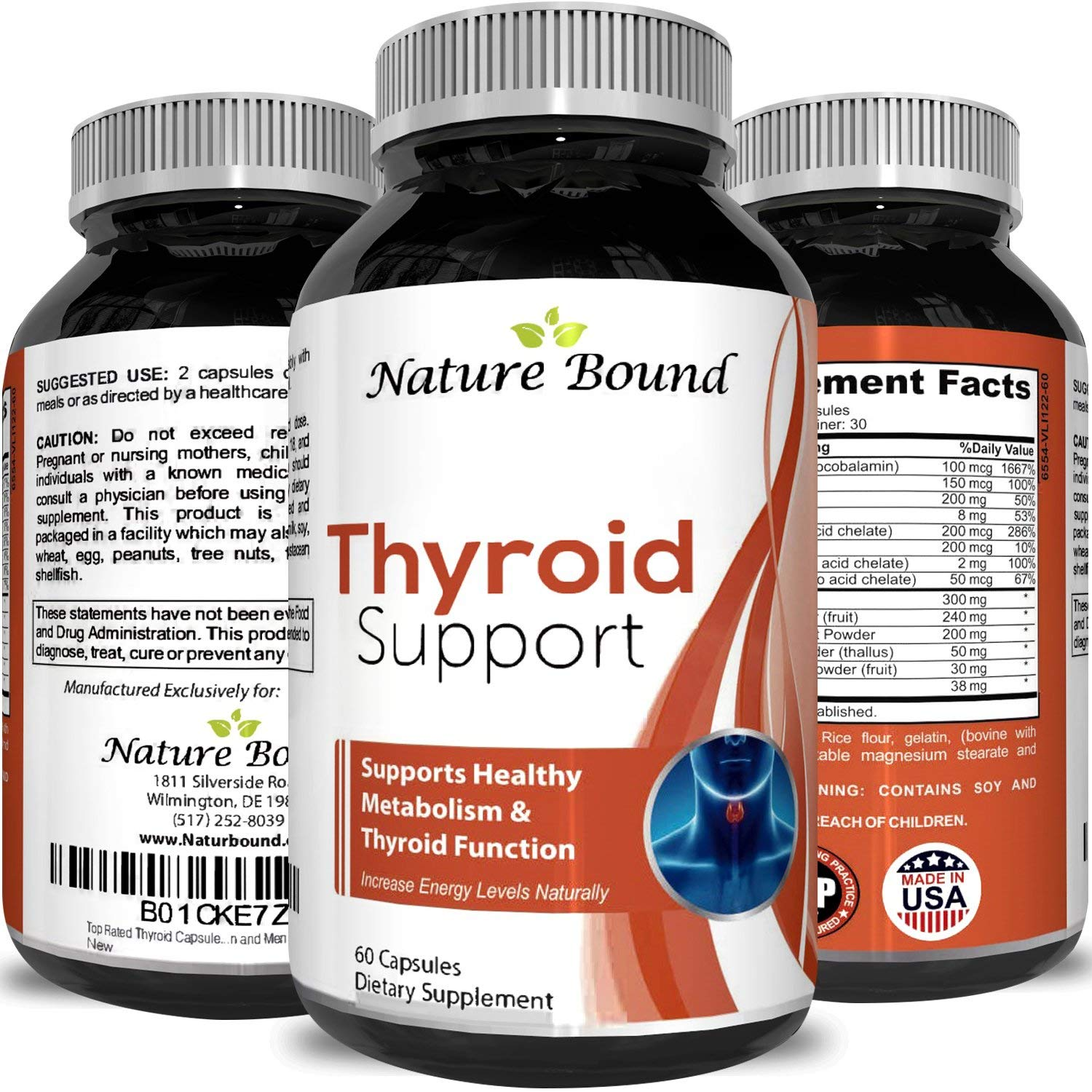 Nature Bound Thyroid Support Formula for Men and Women - Natural Hormone Balance Support and Metabolism Supplement for Weight Loss - Boost Energy Levels 100% Natural 60 Capsules