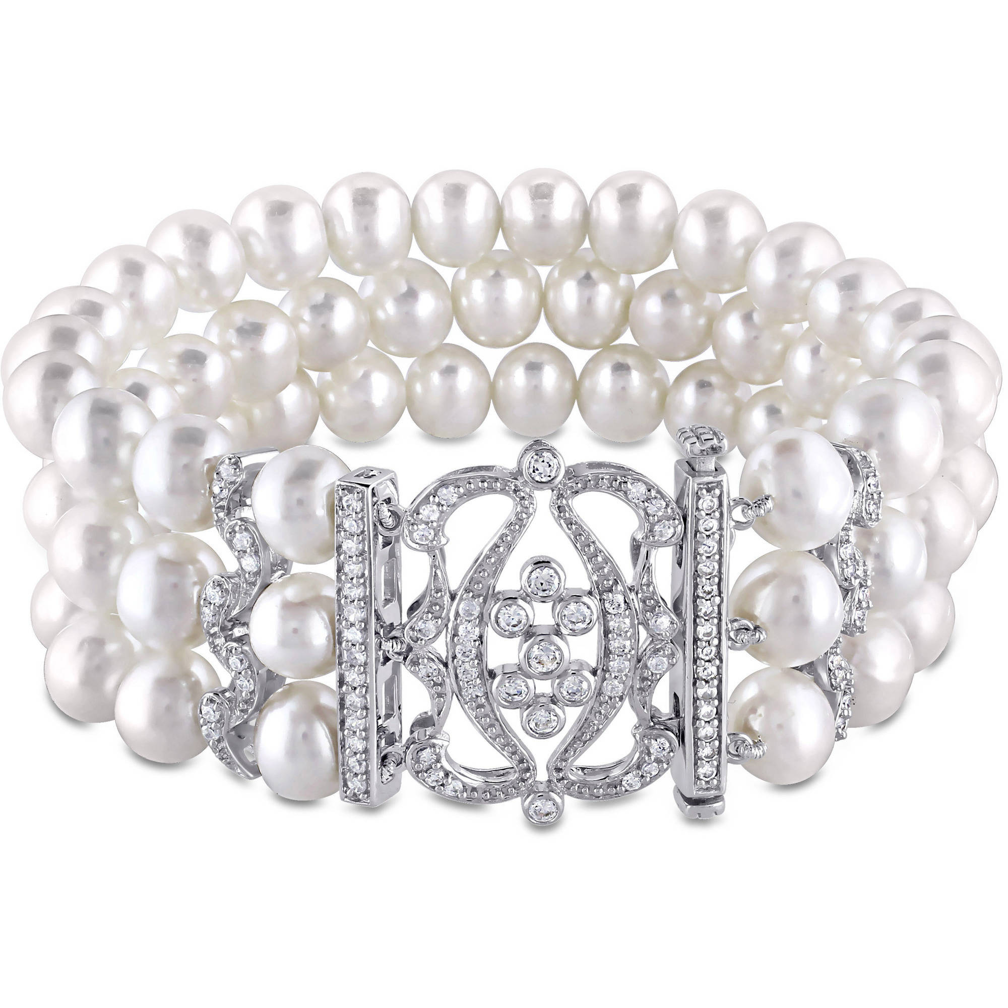 """Miabella 6.5-7mm White Freshwater Pearl and 2 Carat T.G.W. Cubic Zirconia Sterling Silver Three-Row Pearl Bracelet, 7"""""""